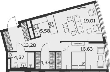 2-к.кв (евро), 63.7 м²
