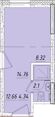 Студия, 15 м², 3 этаж