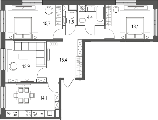 3-к.кв, 78.4 м², 2 этаж