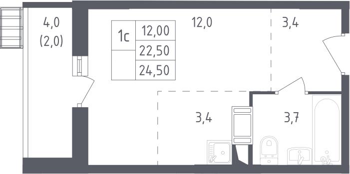 Студия, 24.5 м², 9 этаж – Планировка