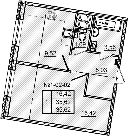 1-к.кв, 35.62 м²