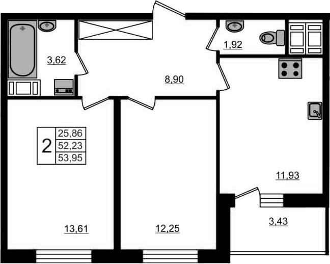 2-к.кв, 55.66 м²