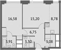 2-к.кв (евро), 57.59 м²
