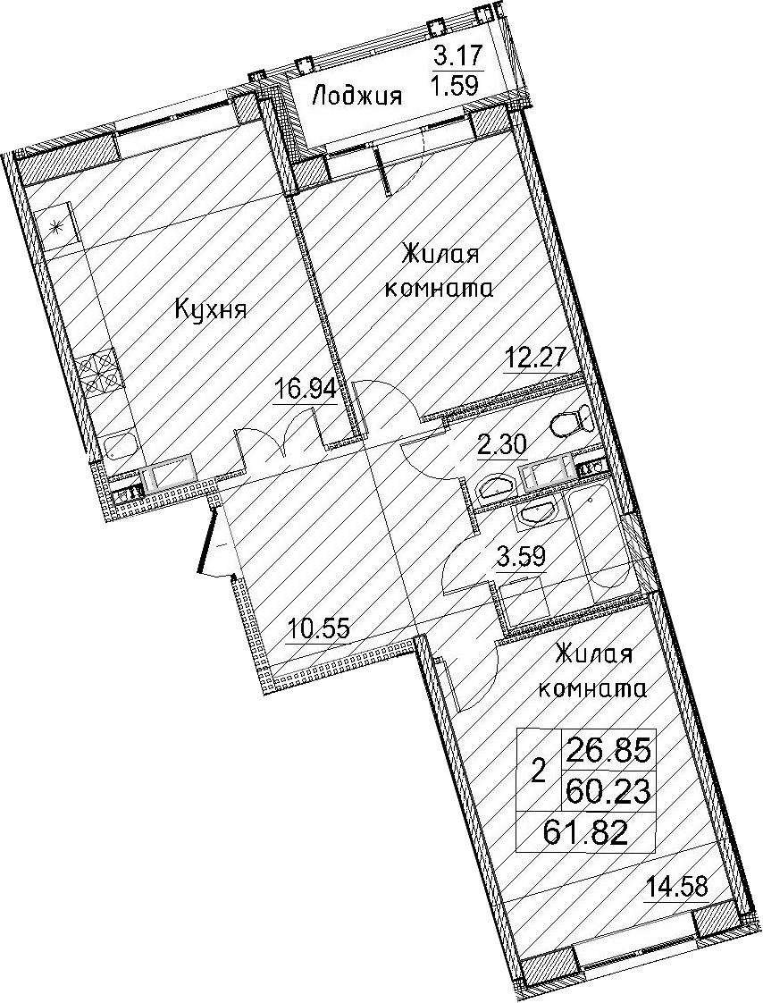 3Е-к.кв, 61.82 м²