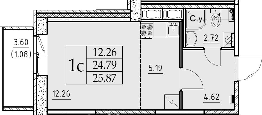 Студия, 25.87 м²– 2