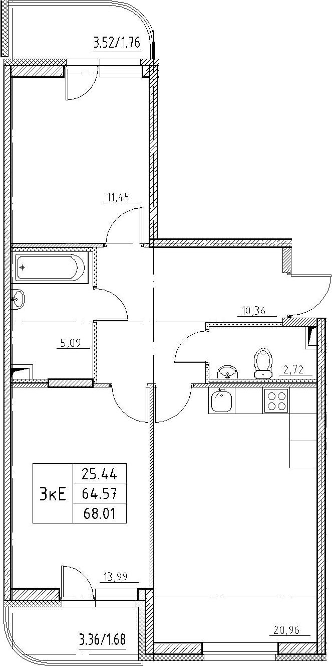 3-к.кв (евро), 71.45 м²