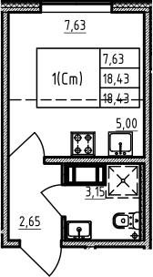 Студия, 18.43 м², от 4 этажа