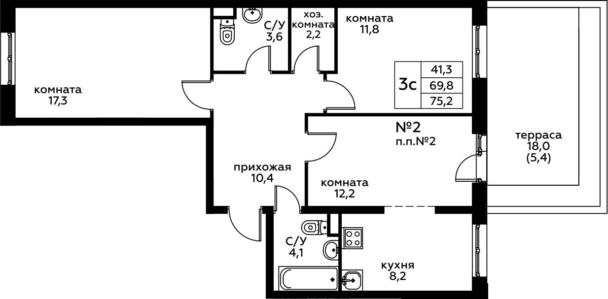 3Е-комнатная, 75.2 м²– 2