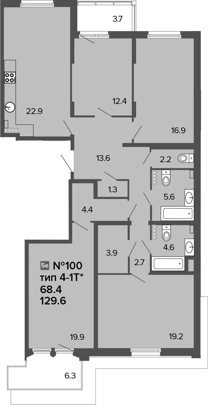5Е-комнатная, 129.6 м²– 2