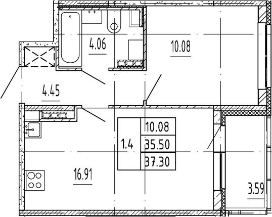 2Е-к.кв, 35.5 м², 4 этаж