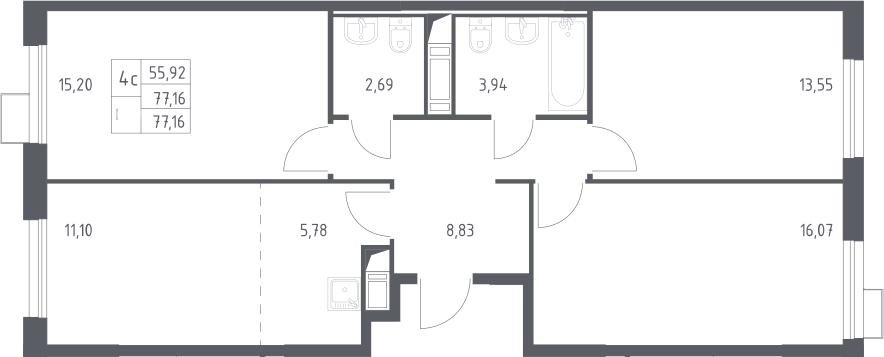 4Е-комнатная, 77.16 м²– 2