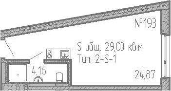 Студия, 29.03 м²– 2