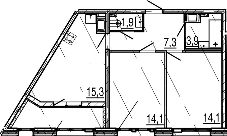 3Е-к.кв, 59.7 м², 9 этаж
