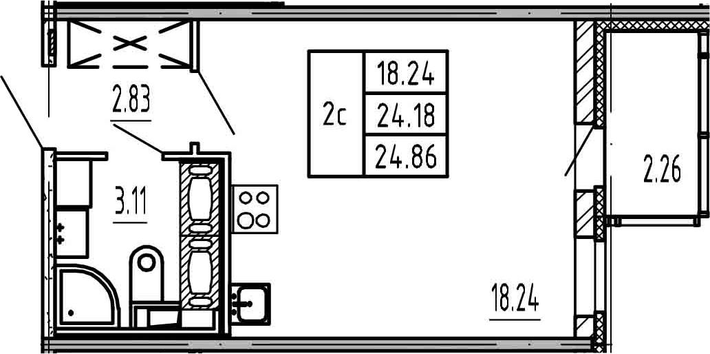 Студия, 24.18 м², 23 этаж
