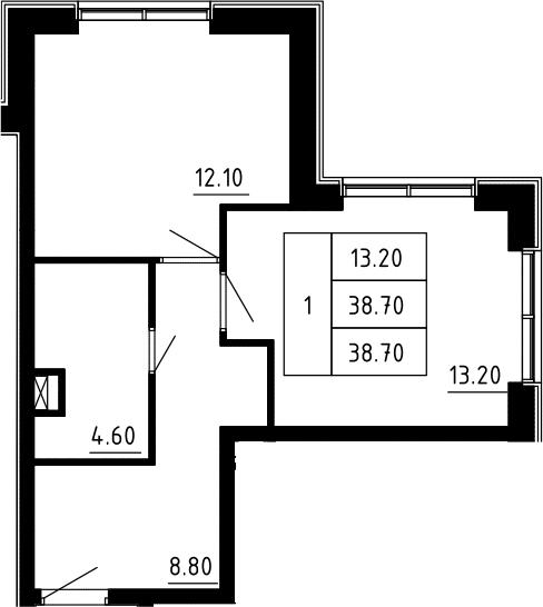 1-к.кв, 38.7 м², 2 этаж