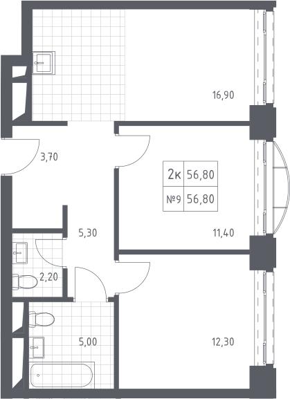 3-к.кв (евро), 56.8 м²