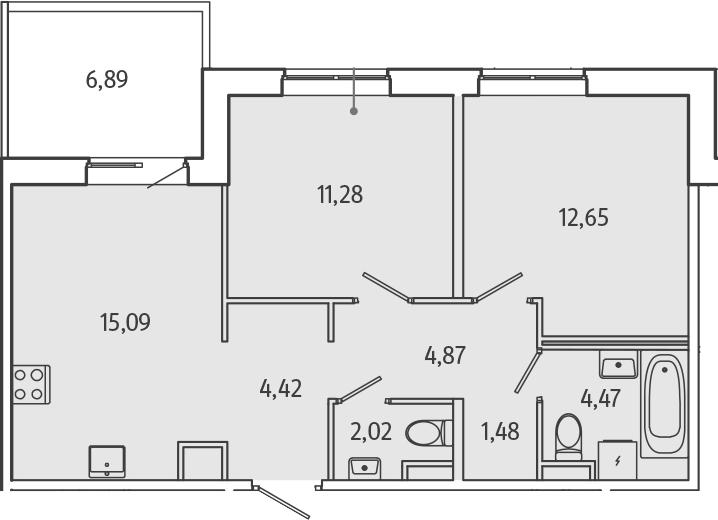 3Е-к.кв, 58.35 м²