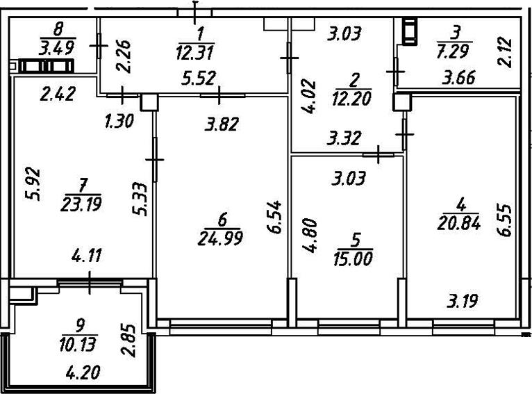 4Е-комнатная, 124.38 м²– 2