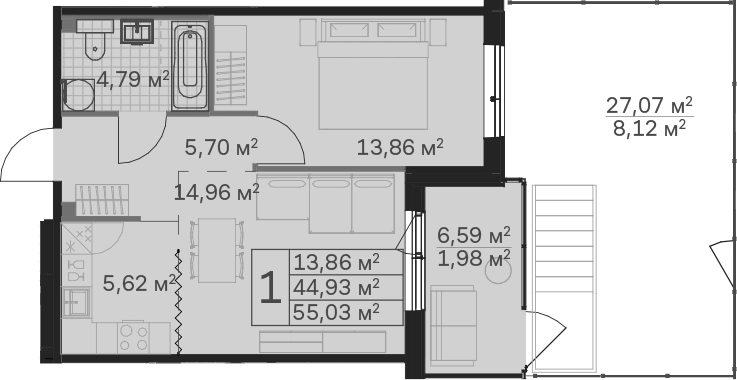 2Е-к.кв, 55.03 м², 1 этаж
