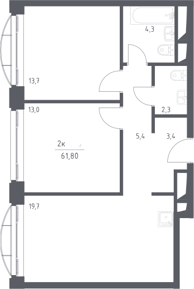 3Е-комнатная квартира, 61.8 м², 19 этаж – Планировка