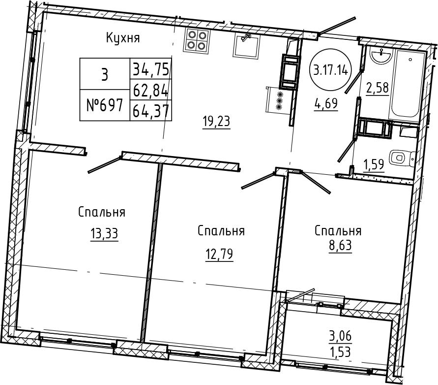 4Е-к.кв, 64.37 м², 17 этаж