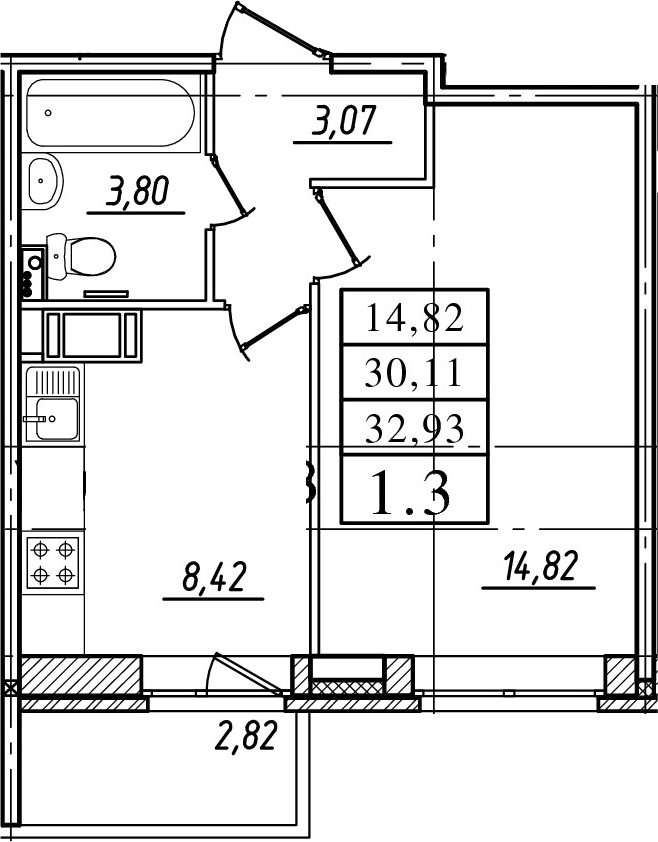 1-комнатная, 30.11 м²– 2