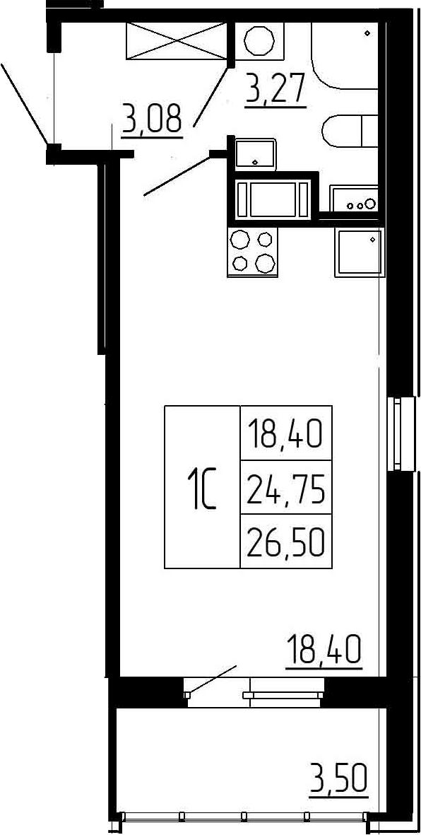 Студия, 28.25 м²