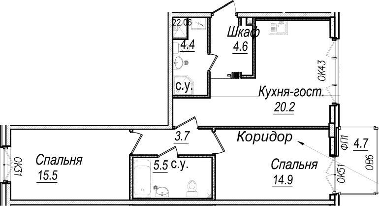 3Е-комнатная, 70.2 м²– 2