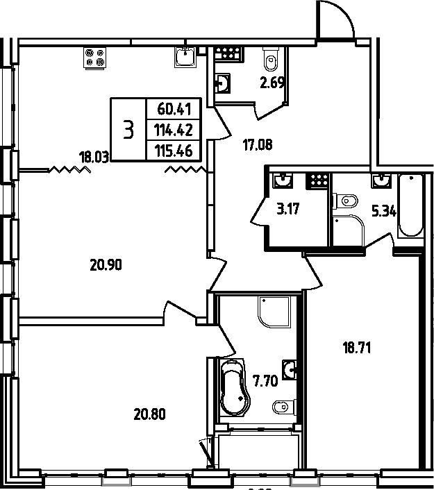 4Е-комнатная, 115.46 м²– 2
