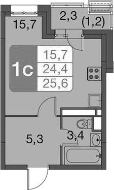 Студия, 25.6 м²– 2