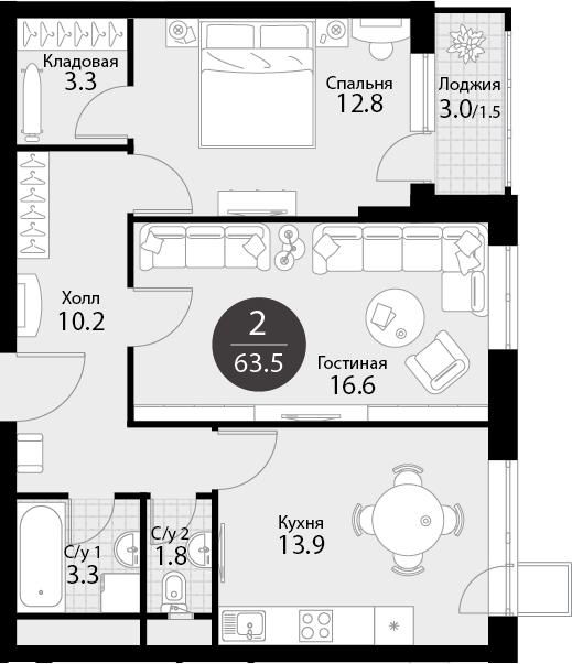 2-к.кв, 65.5 м²