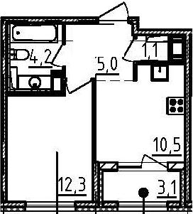 1-к.кв, 34.7 м², 5 этаж