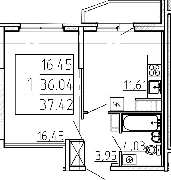 1-к.кв, 38.8 м²