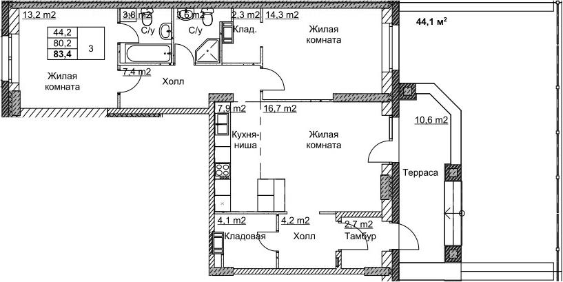 3Е-комнатная, 83.4 м²– 2