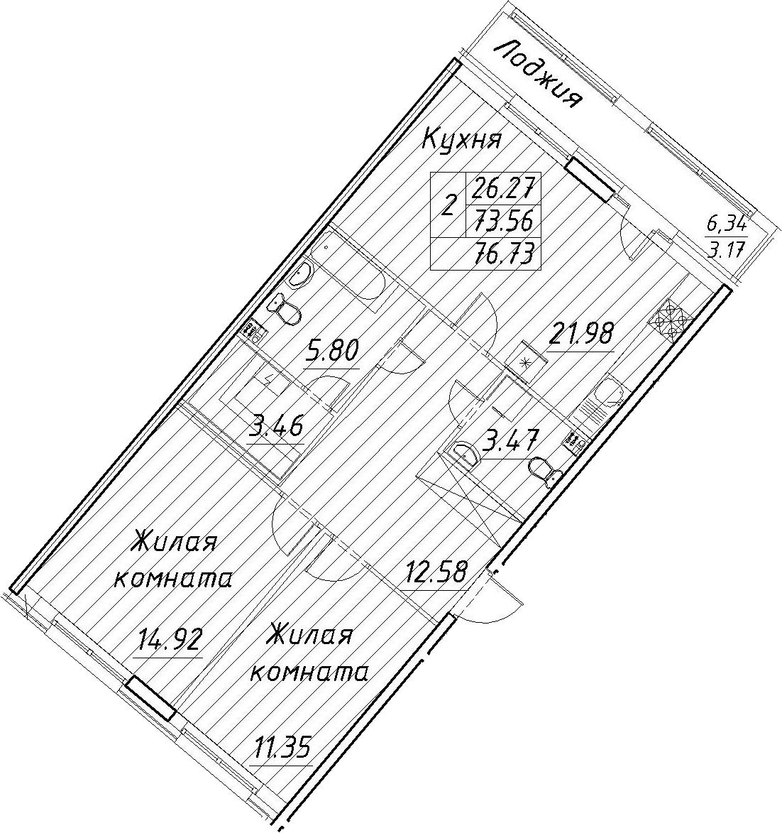 3-к.кв (евро), 79.9 м²