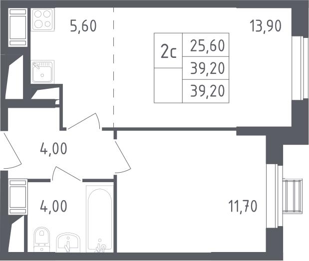 2-к.кв (евро), 39.2 м²
