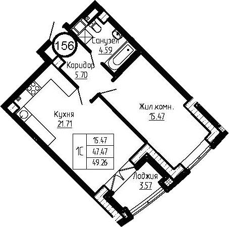 2-к.кв (евро), 51.05 м²