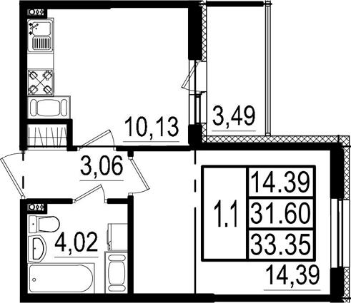 1-к.кв, 35.09 м²