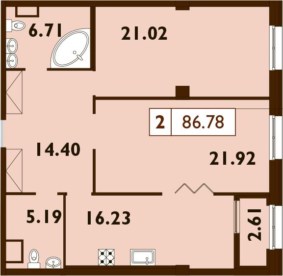 3Е-комнатная, 86.78 м²– 2