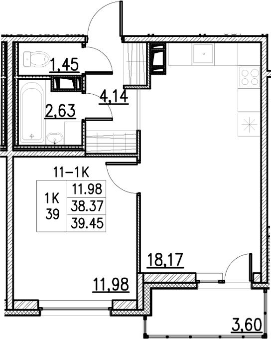 2Е-комнатная, 39.45 м²– 2