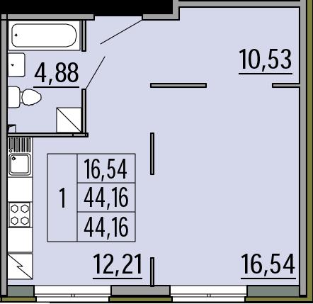 1-комнатная, 44.16 м²– 2