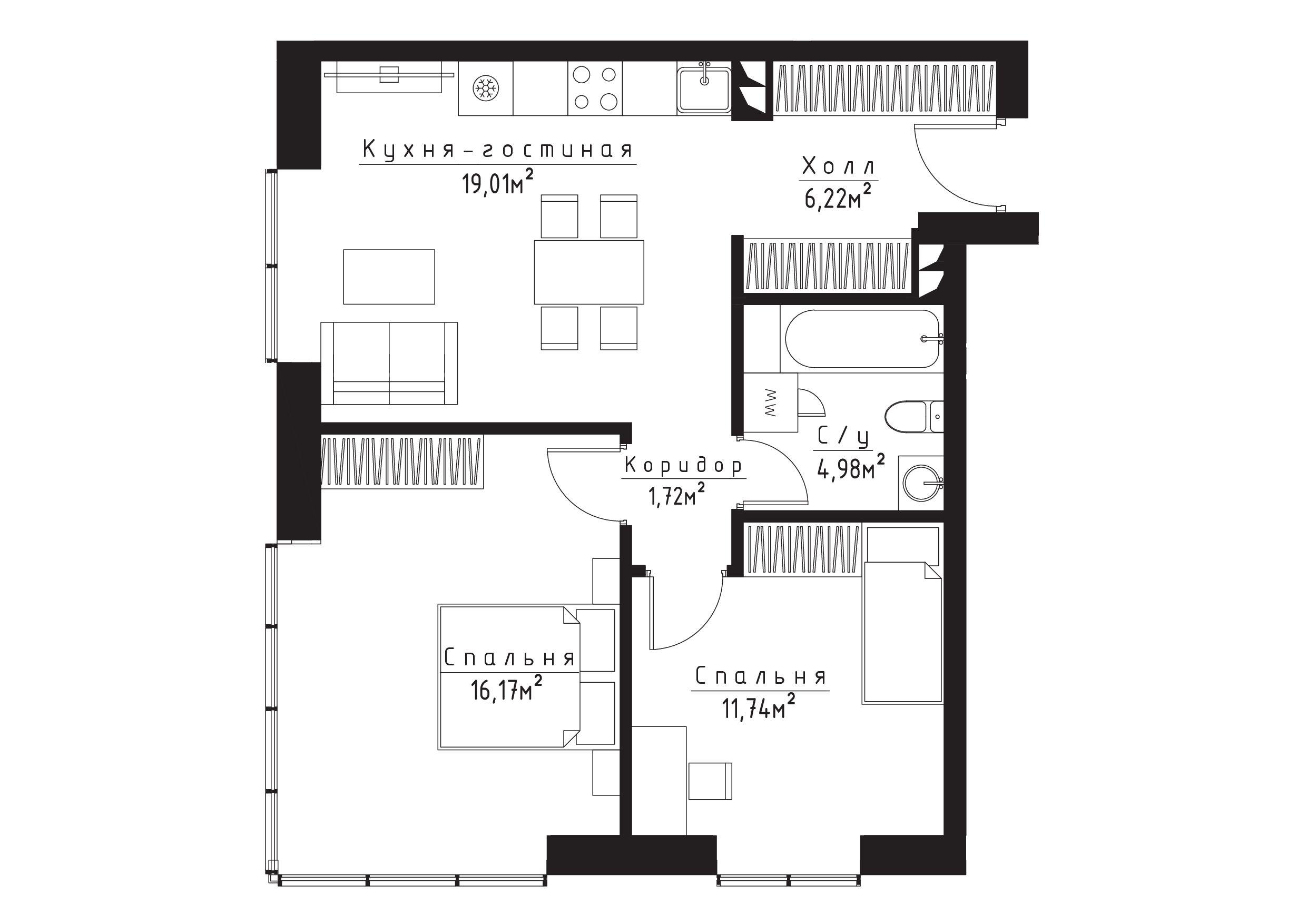 3Е-к.кв, 59.8 м²