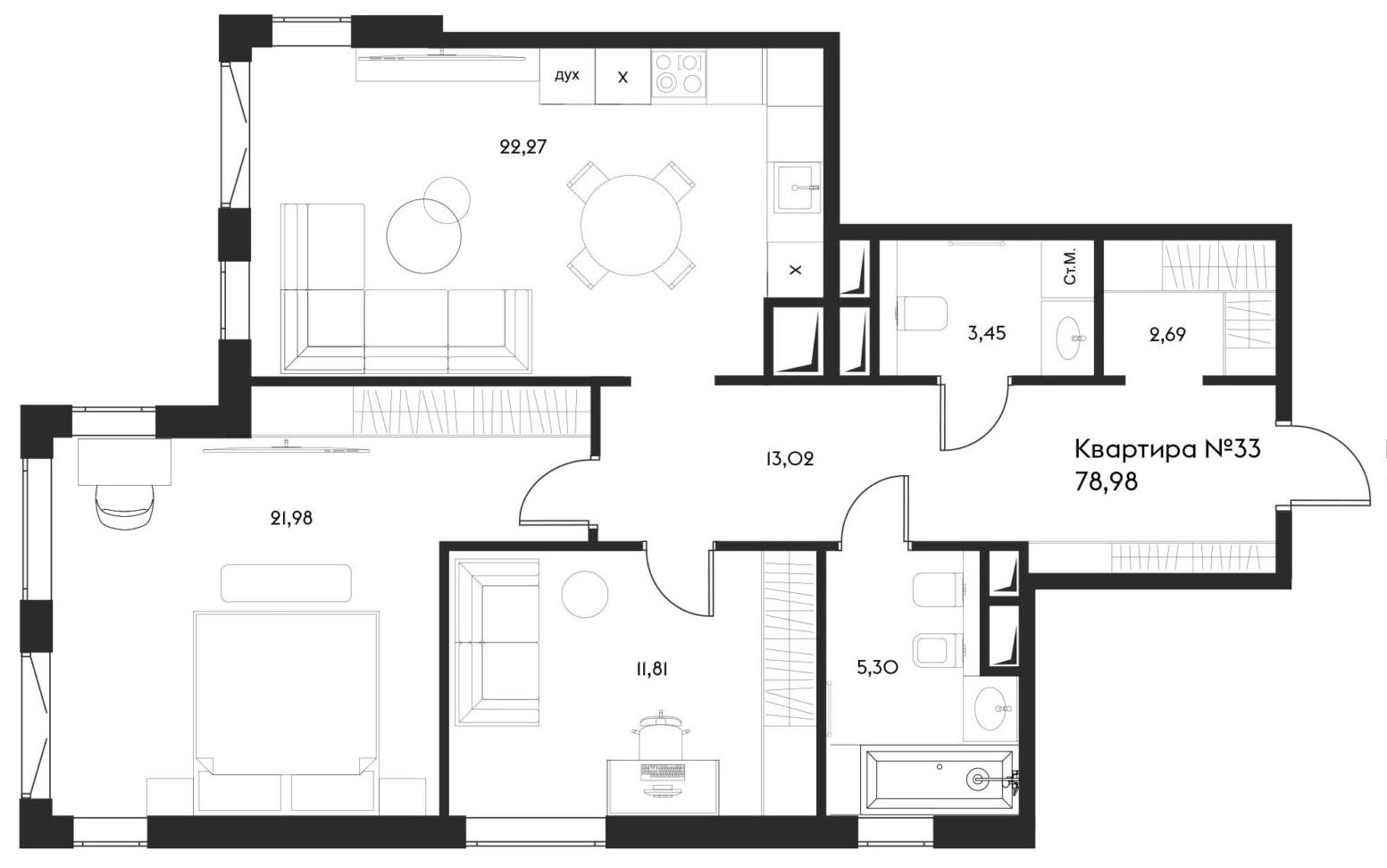 3Е-комнатная, 78.98 м²– 2
