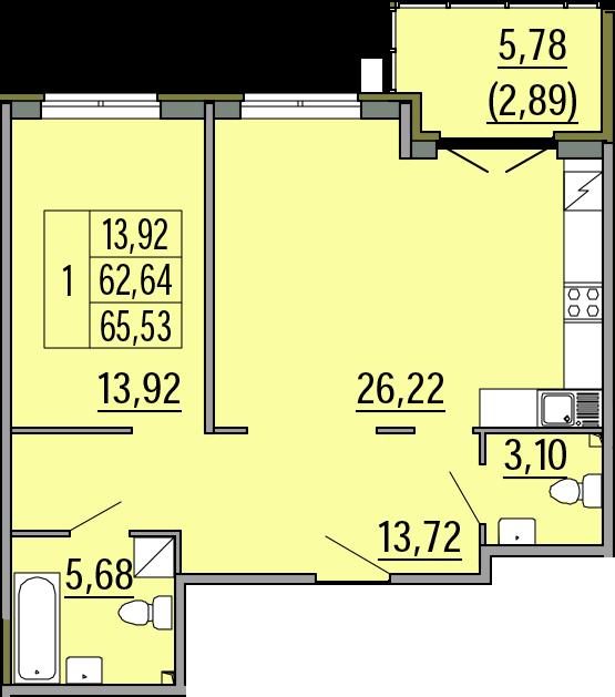 2Е-комнатная, 65.53 м²– 2
