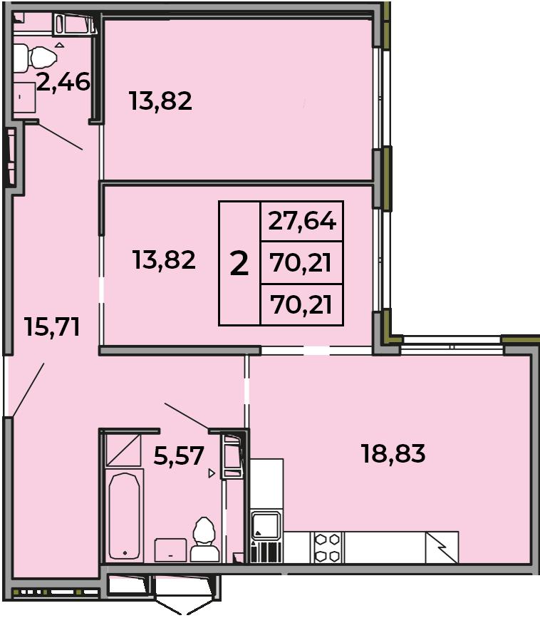 3Е-комнатная, 70.21 м²– 2