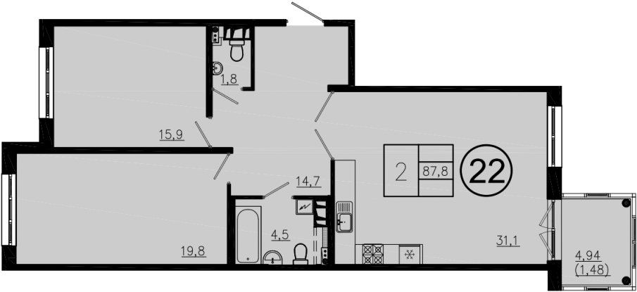 3Е-комнатная, 87.8 м²– 2