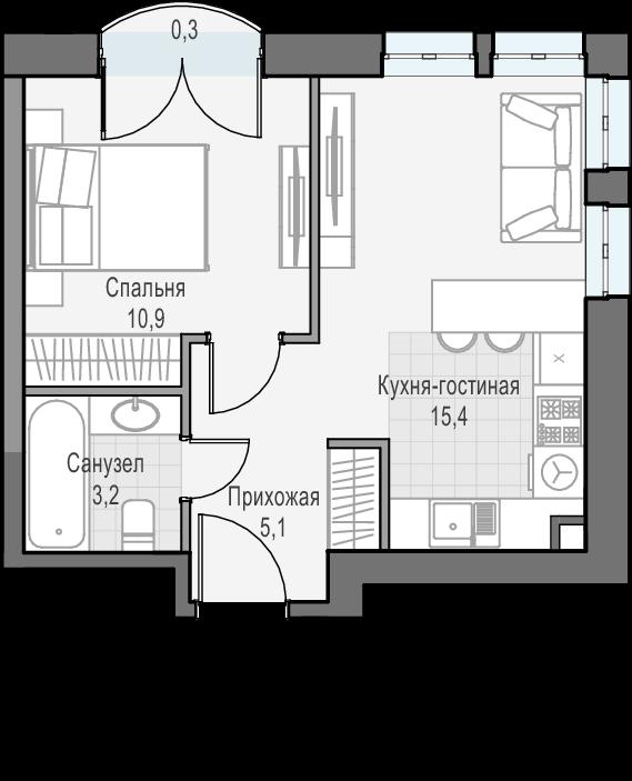 2Е-к.кв, 34.6 м², 16 этаж