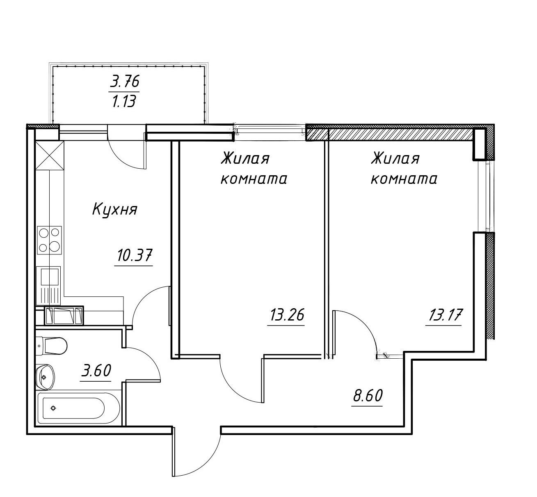 2-к.кв, 52.76 м²