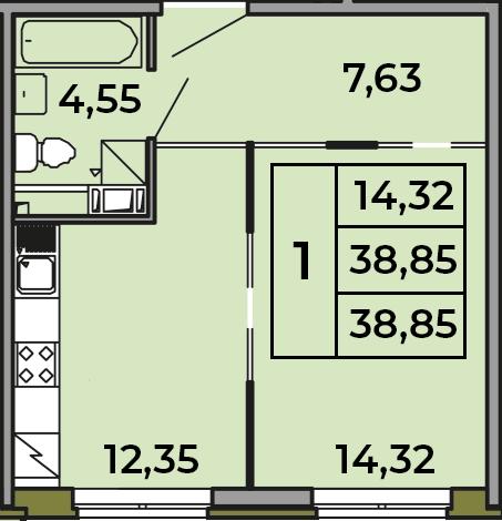 1-к.кв, 38.85 м²
