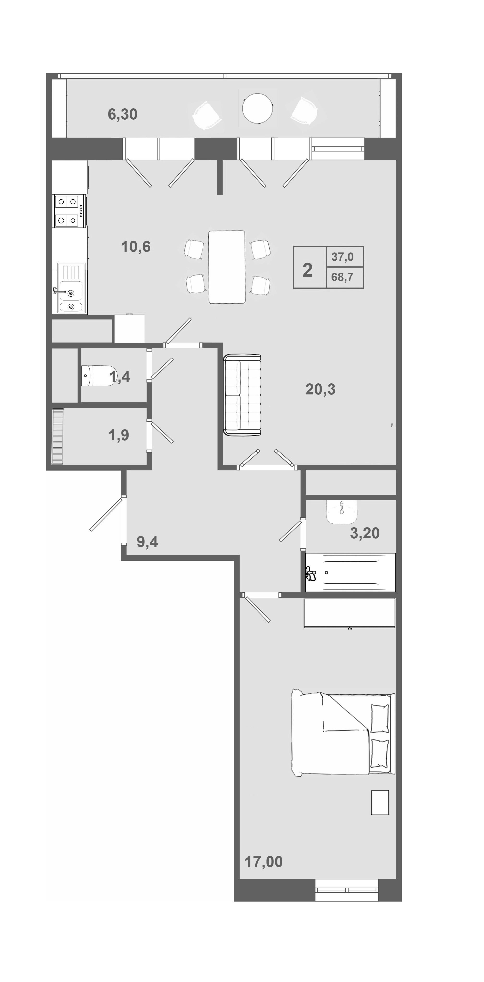 2-комнатная, 68.5 м²– 2